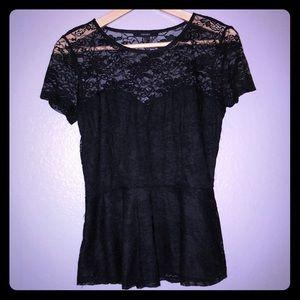 ⚫️Black Lace Short Sleeved Shirt⚫️